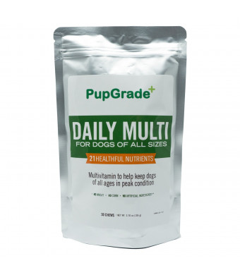 PupGrade  Dog Vitamins - Best Daily Multi Vitamin for Dogs, Probiotic Enzymes, Fish Oil (Omega 3 6 9) for Skin and Coat, Vitamins A, C, D and E, All Natural Treats, Made in USA
