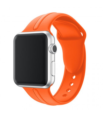 Durable Soft Silicone Sport Strap Replacement Wristband Bracelet Compatible with Apple Watch Series 4 Series 3 Series 2 Series 1 Sport and Edition (Orange 42/44mm M/L) Men/Women