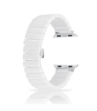 Ceramic Bands for Apple Watch 42mm, YOUKEX Luxury Ceramic Bracelet Replacement Wristband with Butterfly Buckle for iWatch Series 3/2/1 Women Men (White 42mm)