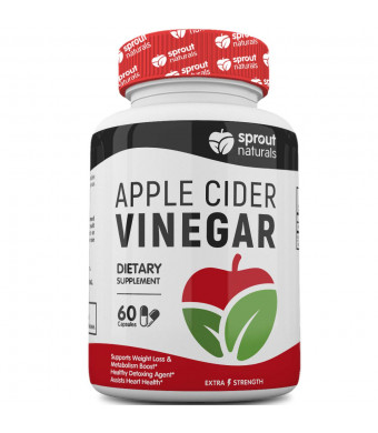 Raw Apple Cider Vinegar Capsules | Potent Detoxifier, Weight Loss, and Metabolism Booster - USA Made