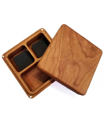 Character Crate Genuine Cherry Wood Dice Storage, Miniature Storage, Dice Rolling Tray: 3 Pocket Plain Front
