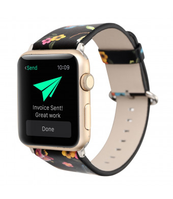 Flower Design Strap for iWatch,38mm 42mm Floral Pattern Printed Leather Wrist Band Apple Watch Link Bracelet for Apple Watch Smartwatch Fitness Tracker Series 2 Series 1 Version (Flower+ Bird 42mm)