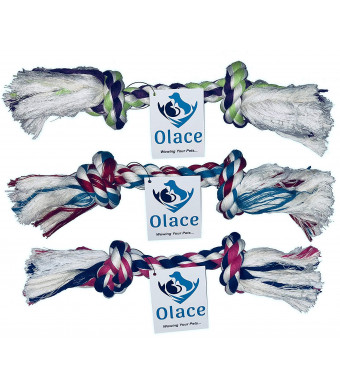 Olace Quality Dog Rope - Pack of 3 Ropes - Long Lasting and Fun Toy for Small to Medium Dogs- Colors May Vary