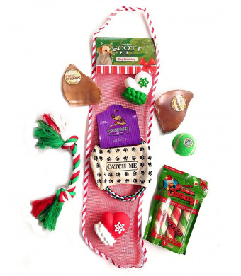 Combined Brands Scott Dog Christmas Stocking with Toys Treats and Pork Chomps - Includes Bonus Toys