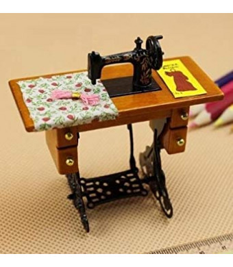 EatingBitingRRetro Vintage Sewing Machine Dollhouse Miniature 1:12 Scale Fairy Doll Home Life Scene , For Kid Children Holidays Gift .