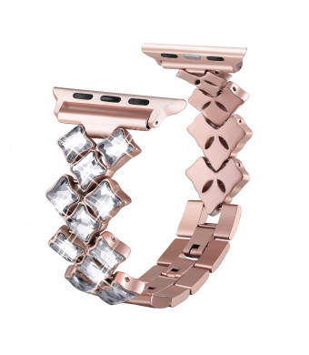 Secbolt Bling Bands Compatible Apple Watch Band 42mm 44mm Luxury Stainless Steel Metal Bracelet Replacement Wristband Strap for Iwatch Nike+, Series 4, Series 3, Series 2, Series 1, Edition, Rose Gold