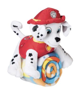 Nickelodeon Kids Paw Patrol Fleece Throw Blanket and Marshall Cuddle Plush Toy - Kids
