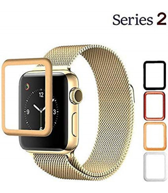 Josi Minea Apple Watch [42mm] 3D Curved Tempered Glass Screen Protector with Edge to Edge Coverage Anti-Scratch Ballistic LCD Cover Premium HD Shield Guard for Apple Watch Series 2-42mm [ Gold ]