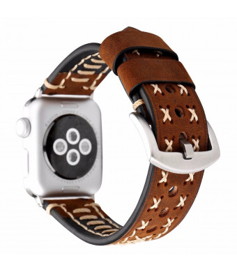 DAHASE Compatible for Apple Watch Band 42mm, Retro Handmade Cross Rope Vintage Strap Bracelet Replacement Genuine Leather Watch Band for iWatch Apple Watch Series 4 3 2 1 44mm 42mm Dark Brown