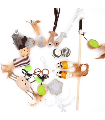 MorePets 14 Premium Natural Interactive Cat Toys Variety Pack Teaser Wand Toy Set Mouse Fish Feather