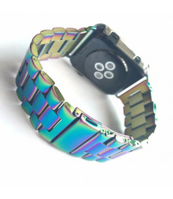 DAHASE Compatible for Apple Watch Band, Stainless Steel 3 Beads Polishing Process Bracelet Metal Replacement Wristband Watch Strap for iWatch Series 4 3 2 1 All Models 40mm 38mm Colorful