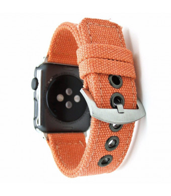 Dahase Compatible for Apple Watch Band, Sports Strap Leisure Bracelet Camouflage Canvas Fabric Replacement Wristband Watch Band for Apple Watch iWatch Series 4 3 2 1 All Versions 40mm 38mm Orange