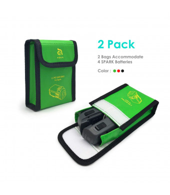 Fireproof Battery Bags Compatible for DJI Spark Drone - Custom Designed Perfectly Fits Your Drone Batteries, Must Have for Safe Charging, Storing - Includes 2 Bags (Green) by Adam Elements