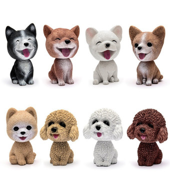 Comidox Handmade childhood memory BobbleHead Dogs Car Dash Puppy for Car Vehicle decoration rocking head dog made by superior Natural Resin Pomeranian 1pc