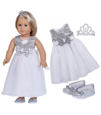 """18 Inch Doll Clothes (Silver Sequins Evening Dress with Glittery Silver Bow Flat and Embellished Crown) Fits 18"""" American Girl Dolls"""