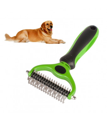 Hilou Pet Pet Grooming Tool 2 Sided Undercoat Rake for Dogs Safe Dematting Comb for Easy Mats Tangles Removing