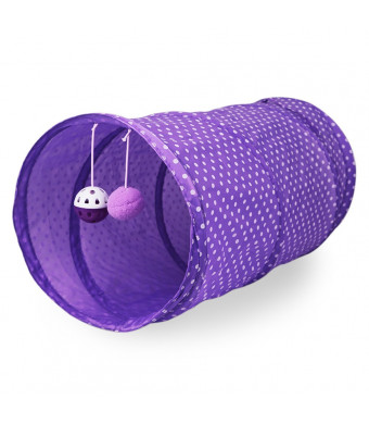 Cute Pet Cat Tunnels Toys, Foldable Cat Tent with Built-in Small Pumpon Polyester Kitten Toys