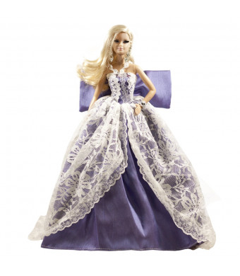 Peregrine Multitextured Lace and Purple Silk Gown Violet Dress w/ Bow for 11.5 inches Dolls