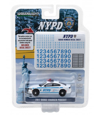 Greenlight 42821 2017 Dodge Charger Pursuit Police New York Police Department (NYPD) with NYPD Squad Number Decal Sheet Hobby Exclusive 1/64 Diecast Model Car