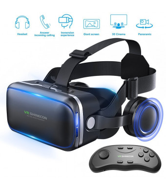 Vr Headset with Remote Controller for VR Games and 3D Movies, Eye Care 3D Glasses Virtual Reality Goggles, for iPhone and Android Smartphones