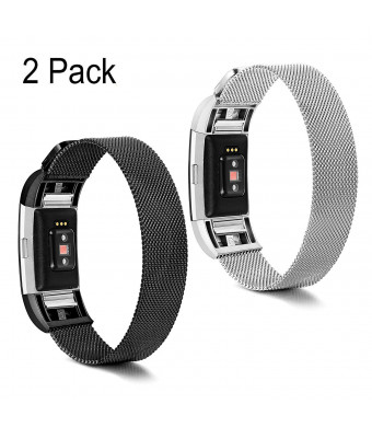 Thunaraz Compatible for Fitbit Charge 2 Bands Pack of 2-3 Stainless Steel Milanese Loop Band Replacement Wristband 18mm Metal Watch Band Strap Accessories Bracelet for Men with 6Pcs Screen Protector