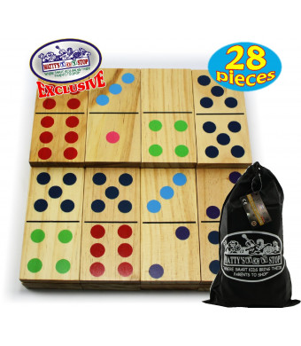 "Matty's Toy Stop Deluxe Giant Wooden Dominoes Double Six (5"") Color Dot, 28 Piece Set with Storage Bag"