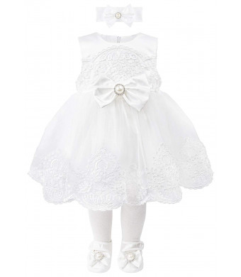 T.F. Taffy Taffy Baby Girl Christening Baptism Embroidered White Dress Gown 6 Piece Deluxe Set
