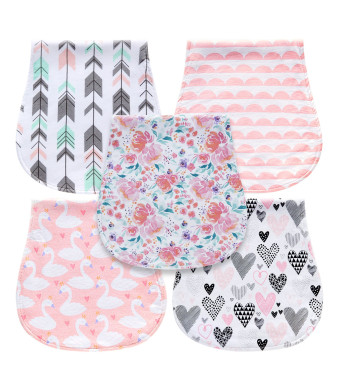 5-Pack Baby Burp Cloths for Girls, Triple Layer, 100% Organic Cotton, Soft and Absorbent Towels, Burping Rags for Newborns Baby Shower Gift Set by MiiYoung