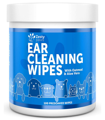 Ear Cleaning Grooming Wipes for Dogs - Cleaner Solution Pads for Ears with Aloe Vera, Chamomile, Oatmeal and Coconut Oil - Great for All Breeds - Lavender Scent for Odors - 100 Presoaked Wipes