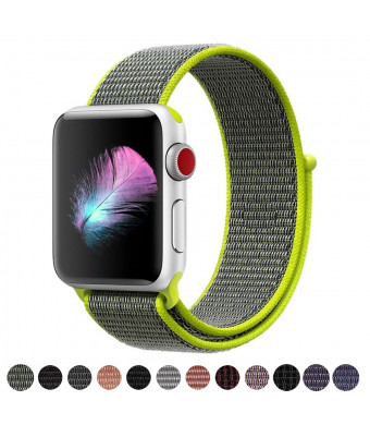 HILIMNY Compatible for Apple Watch Band 38mm, New Nylon Sport Loop, with Hook and Loop Fastener, Adjustable Closure Wrist Strap, Replacement Band Compatible for iwatch, 38mm, Flash