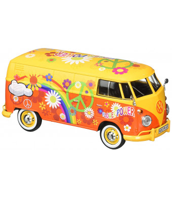 Motor Max 1:24 W/B Volkswagen Type 2 T1 Delivery Van with Flower Power Design, Yellow/Orange
