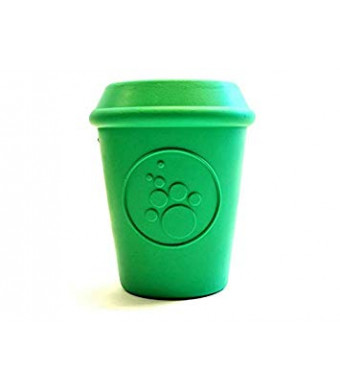 SodaPup - Coffee Cup - Natural Rubber Treat Dispensing Chew Toy - Slow Feeder - Made in USA - Durable Rubber for Heavy Chewers - Green - Large