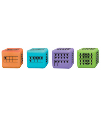 ETA hand2mind Ten-Frame Foam Dice and Activity Guide for Counting Tens (Set of 12)