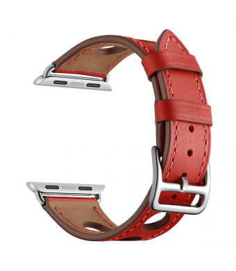 YSS Apple Watch Band 38mm Genuine Leather with Stainless Steel Buckle Clasp Replacement Strap Wristband for iWatch Series 1 Series 2 Series 3 Sport Edition Hermes (Red 38mm)