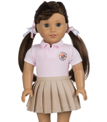 Customizable School Uniform for American Girl Doll | Your OWN School Logo | DIY Accessories and Clothes | Fits All 18 inch Dolls Like Our Generation, My Life, Adora, Gotz | Already Gift Packed (Pink)