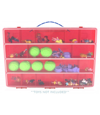 Life Made Better Cabbage Patch Case Carrying Storage Box. Organizer for Figurine Toys and Accessories, Red
