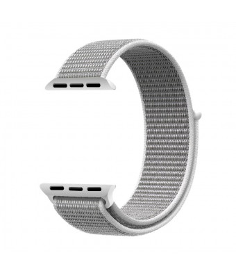 Navor Soft Breathable Woven Nylon Replacement Sport Loop Band for Apple Watch Series 3/2/1 [38MM ] -White