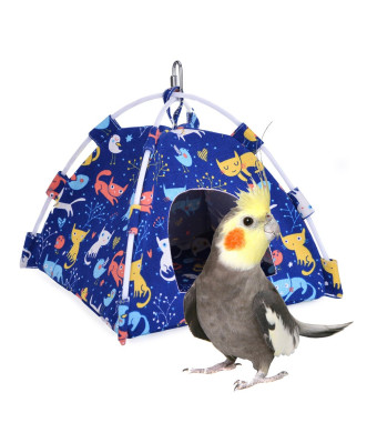 KINTOR Bird Nest House Bed, Parrot Habitat Cave Hanging Tent, Vibrant Parakeet Snuggle Hut Hammock, Intelligence and Physique Improvement Cage Decor for Small Animals