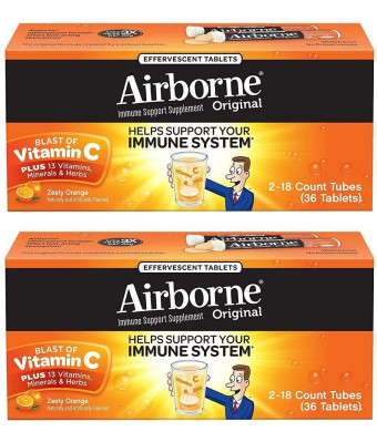 Airborne Zesty Orange Effervescent Tablets Vitamin C 1000mg x 36 Counts (2 Pack)