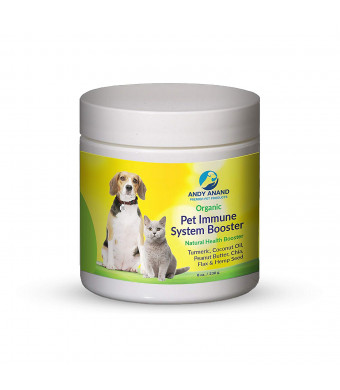Hira Organic Pet Care Turmeric Coconut Immune System Booster for Dogs and Cats-with Natural Turmeric, Coconut Oil, Peanut Butter, Chia,Flax and Hemp Seed |Complete Organic and Natural