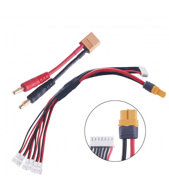 1S LiPo Charging Adapter Cable 6 in 1 to 6S Balance Battery Charger w/ XT60 to Banana Cable for JST-PH 2.0 mCPX Powerwhoop Tiny Whoop
