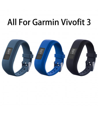 Sunlike Replacement Wristband With Secure Clasps for Garmin Vivofit 3 Only(No tracker, Replacement Bands Only)
