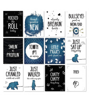 Baby Milestone Cards - Monthly Photo Cards - 12 Cards, 24 Milestones - Original Designs by JumpOff Jo - to The Moon Series - Mama Bear Blue