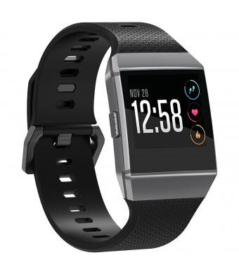 Fitbit Ionic Accessories Bands,Juvnile Soft Sport Wristband TPU Replacement Adjustable Classic Straps for Fitbit Ionic Smart Fitness Watch Women Men. (Black, Small)