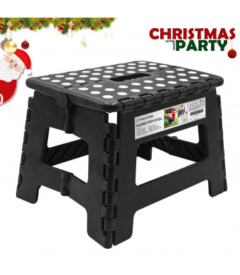 Heim and Elda Folding Step Stool, Super Strong Plastic 9 inch Step Stool for Kids and Adults with Handles, Black