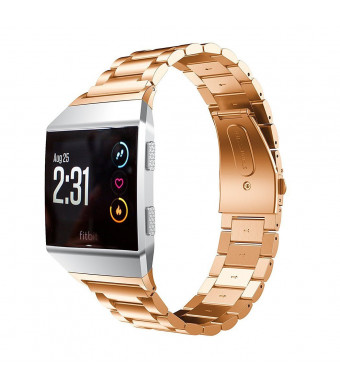 Juvnile Premium Stainless Steel Crystal Rhinestone Wrist Band Compatible with Fitbit Ionic for Men/Women with Adjustable Chain band and Folding Clasp, Rose Gold