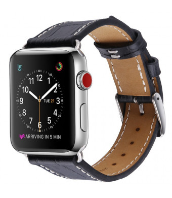 Palestrapro's Replacement Black Leather Apple 38mm/40mm Watch Bands, iWatch Bands Compatible with Series 4 3 2 1 for Men and Women (Black,40mm/38mm)