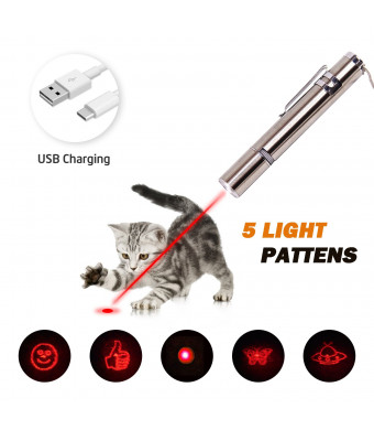 RIO Direct Chase Cat Toy for Endless Fun, Multi Pattern Funny and Mini Flashlight Interactive LED Light Entertain and Train Your Pets - USB Charging