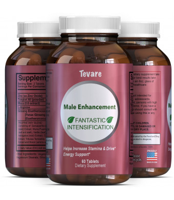 Tevare Male Enhancement Supplement with Pure Tongkat Ali Zinc L-Arginine and Maca Root Natural Energy Booster for Men Increases Drive Stamina and Performance Best Herbal Complex 60 Tablets