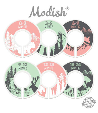 Modish Labels Baby Nursery Closet Dividers, Closet Organizers, Nursery Decor, Baby Girl, Woodland, Tribal, Woodland Animals, Bear, Fox, Deer, (Pink/Mint/Gray)